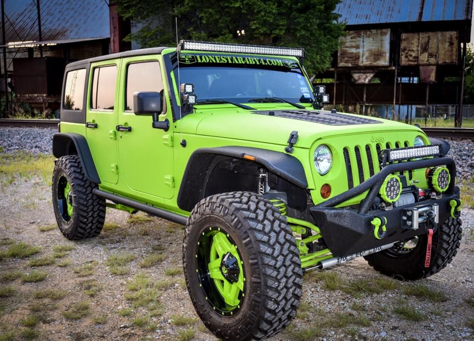 Gecko Green Lifted Jeep Wrangler