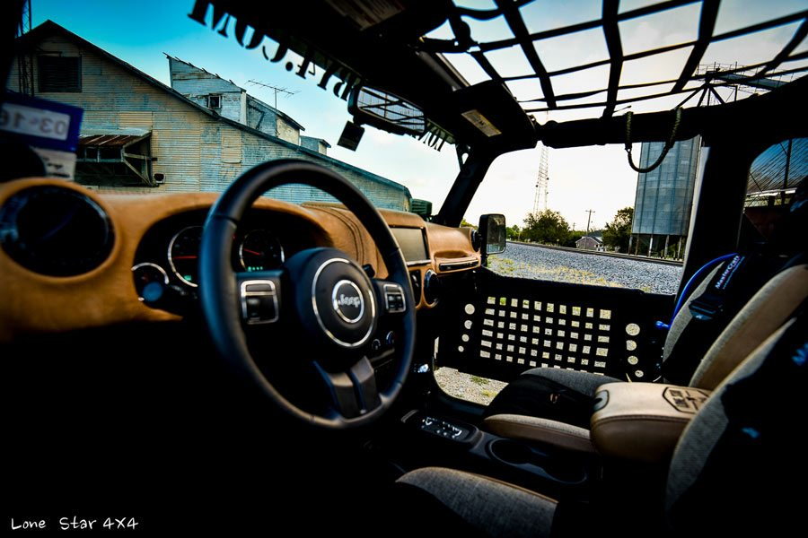 Custom Jeep Wrangler Leather Interior Front Seat View