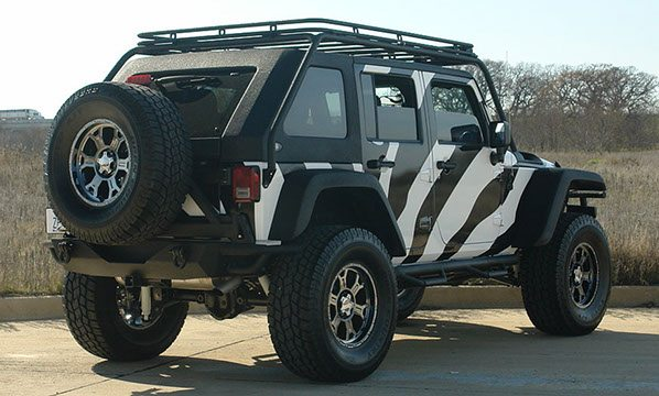 Custom Jeep Top Rack Back View