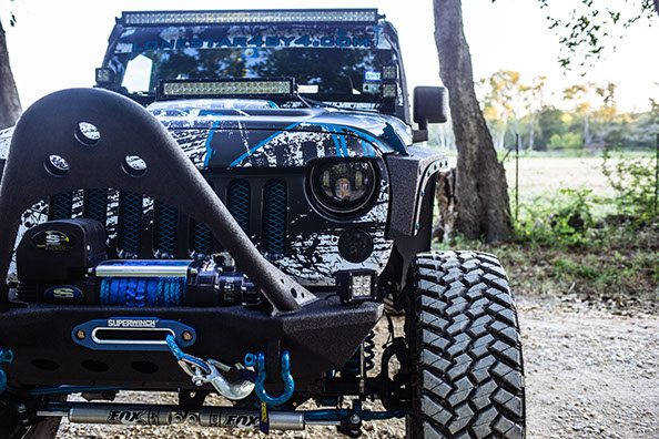 Custom Jeep Grille Guard with Tow Hook