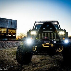 Baylor Bears Jeep Wrangler Front View with Headlights