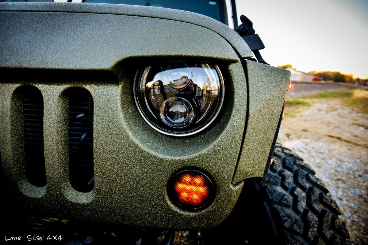 Close up of Baylor Bears Jeep Wrangler Headlights