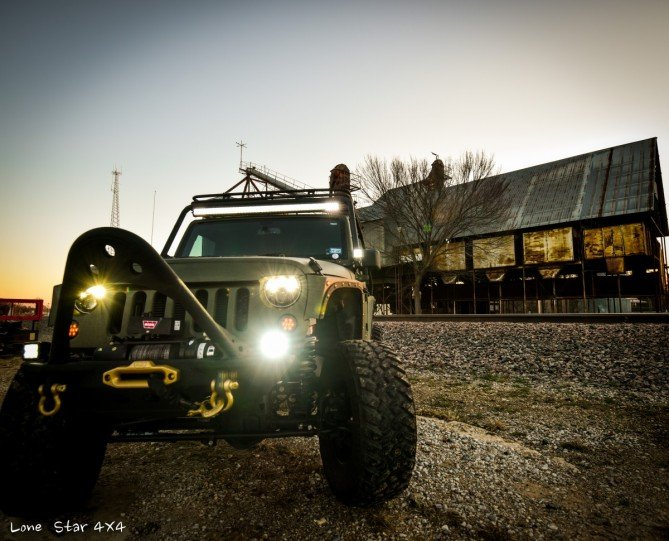 Baylor Bears Jeep Wrangler Front View with Headlights On