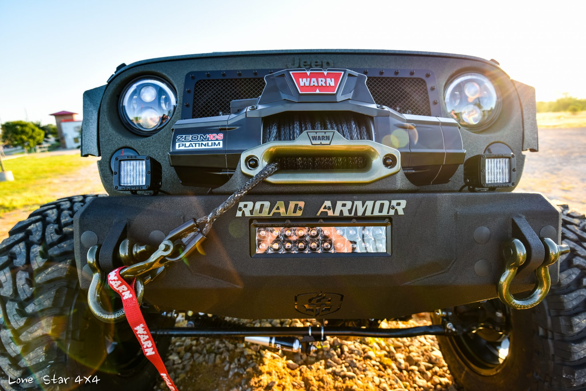 RIPP Supercharged Jeep Warn Winch and Custom LED Lights