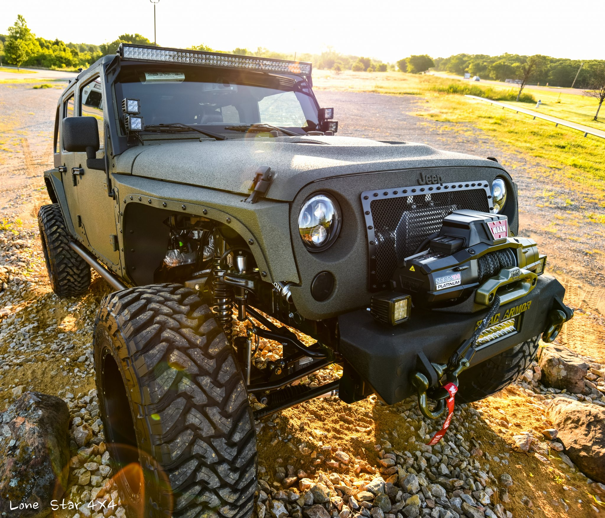 Custom OD Green Jeep Wrangler Front View