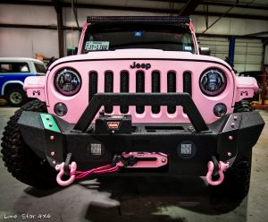 Custom Sprayed Pink Jeep Front View