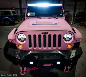 Custom Sprayed Pink Jeep Front View with Custom LED