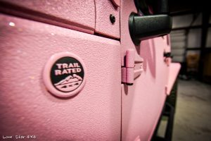 Custom Sprayed Pink Jeep Trail Rated Emblem