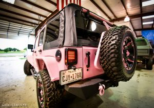 Custom Sprayed Pink Jeep Rear Drivers Side