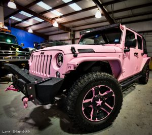 Custom Sprayed Pink Jeep Front Drivers Side