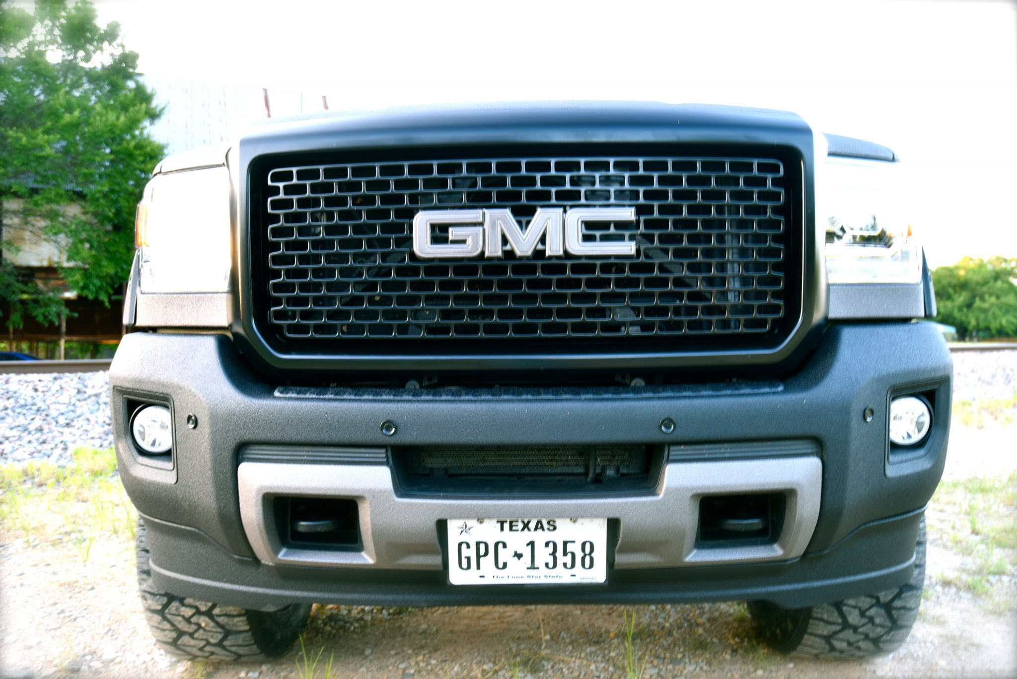 2016 GMC Denali 2500 Front View with Tow Pins