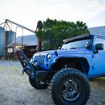 Sprayed Blue Jeep Rubicon Drivers Side View