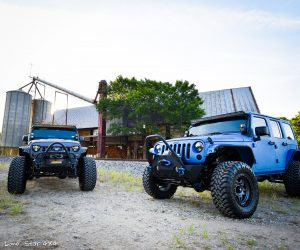 Sprayed Blue Jeep Rubicon and Gray Jeep