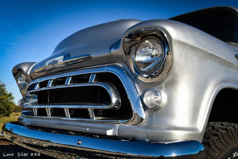 1957 Big Window Chevy Truck Headlight Close Up View