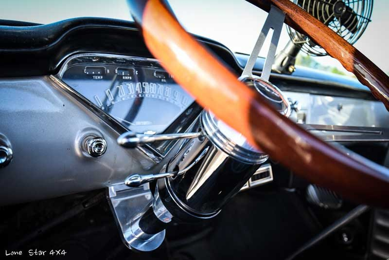 1957 Big Window Chevy Truck Steering Wheel Close Up