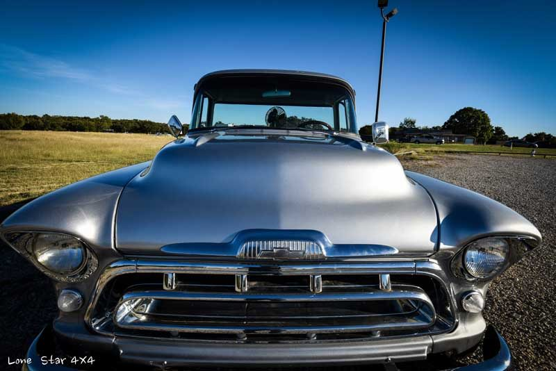 1957 Big Window Chevy Truck Front Hood View