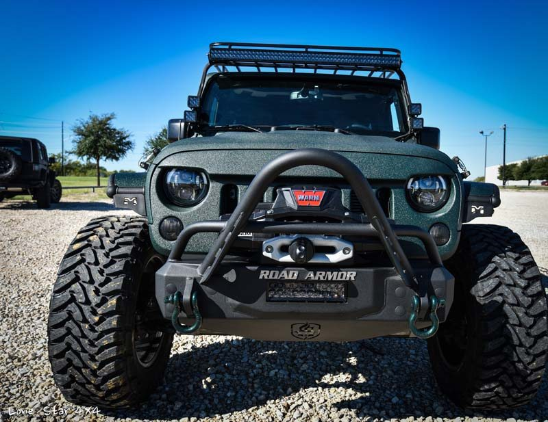 Jaguar Green Jeep Wrangler Front View