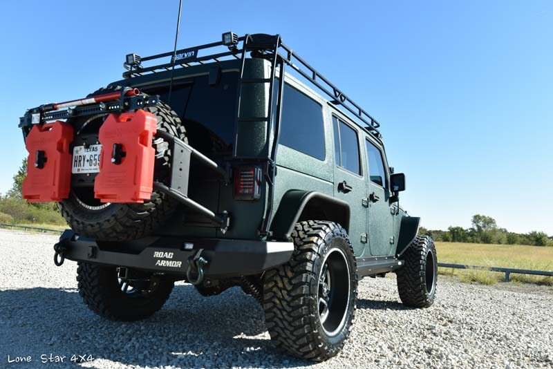 Jaguar Green Jeep Wrangler Rear Passenger Side