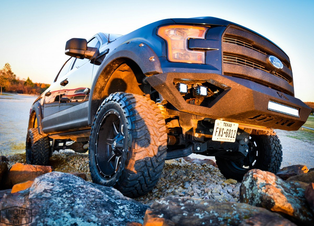Custom Stealth F150 Front View on Rock Pile