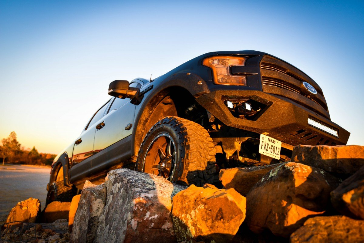 Custom Stealth F150 on Rock Pile Front View