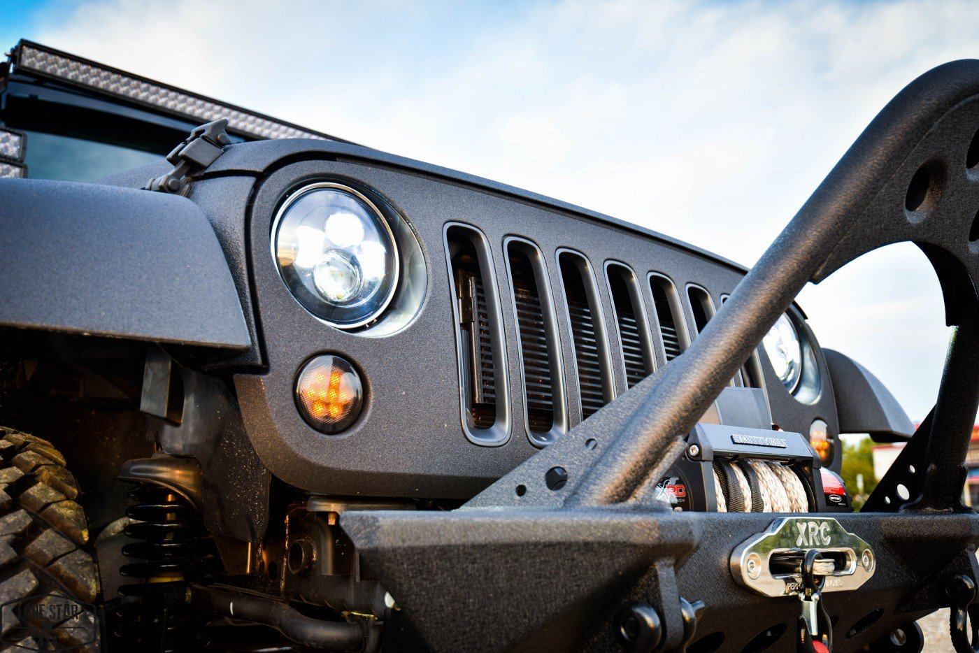 Midnight Edition Jeep Headlight Close Up
