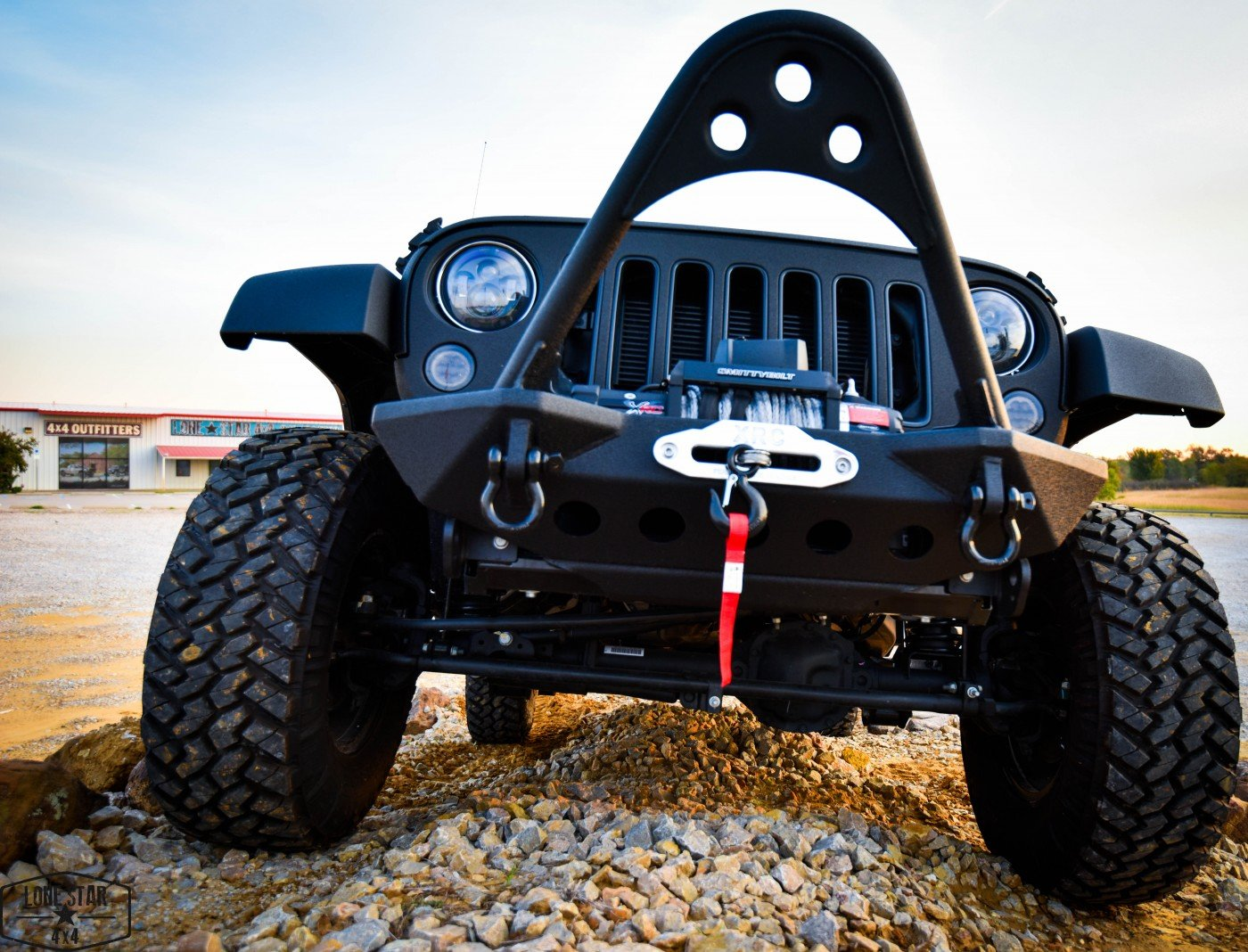 Midnight Edition Jeep Tow Hook and Smittybelt Stinger Front Bumper