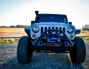 Silver Custom Jeep Wrangler Front View