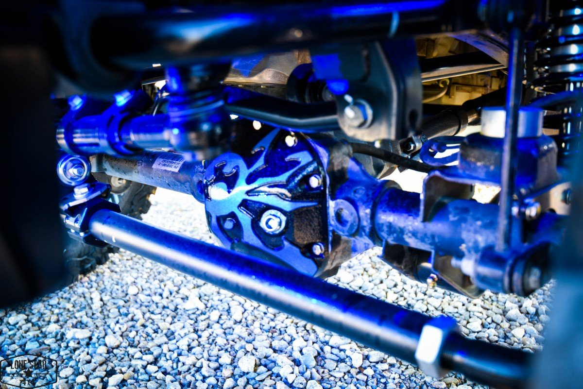 Silver Custom Jeep Wrangler Close up of Shocks