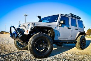 Silver Custom Jeep Wrangler Drivers Side View